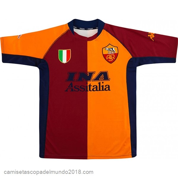 1ª Camiseta Equipación As Roma Retro 2001 2002 Naranja