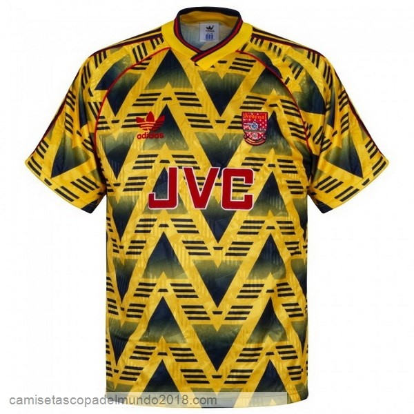2ª Camiseta Equipación Arsenal Retro 1991 1993 Amarillo