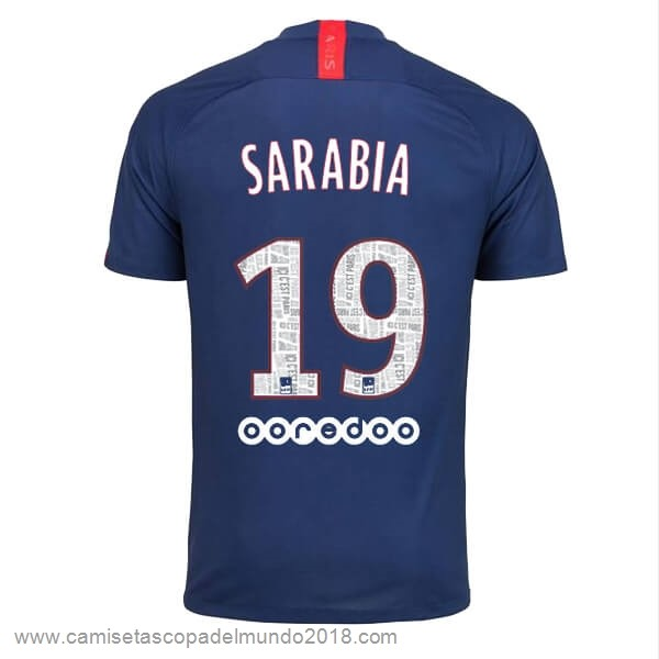 NO.19 Sarabia Casa Camiseta Paris Saint Germain 2019 2020 Azul Equipación