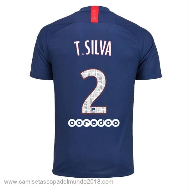 NO.2 T.Silva Casa Camiseta Paris Saint Germain 2019 2020 Azul Equipación