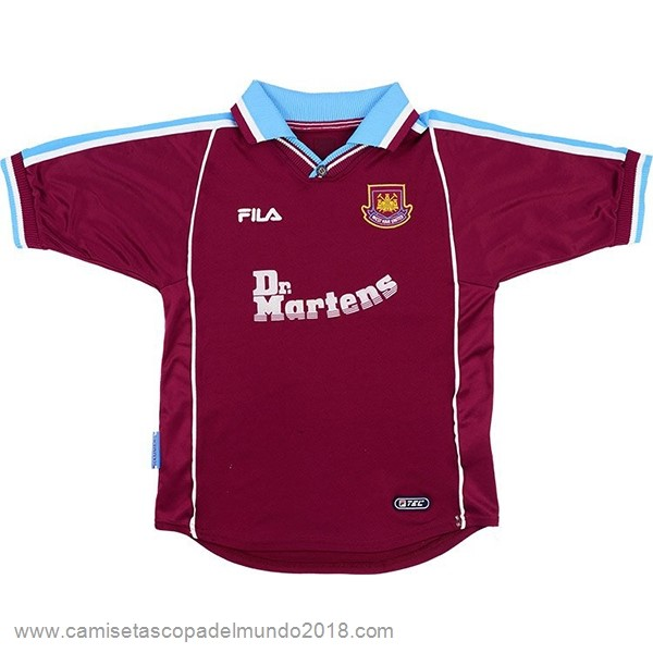 Casa Camiseta West Ham United Retro 1999 2000 Rojo Equipación